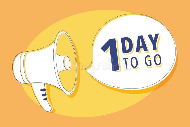 Megafone com os dias 1 a ir bolha do discurso loudspeaker Bandeira para o negócio, mercado e vetor do anúncio ilustração royalty free