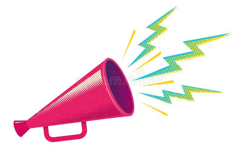 Megafone cor-de-rosa retro ilustração stock