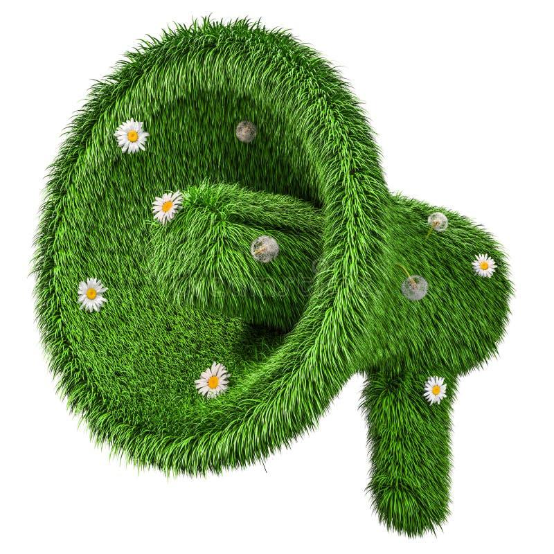 Megafone da grama verde, rendição 3D ilustração royalty free
