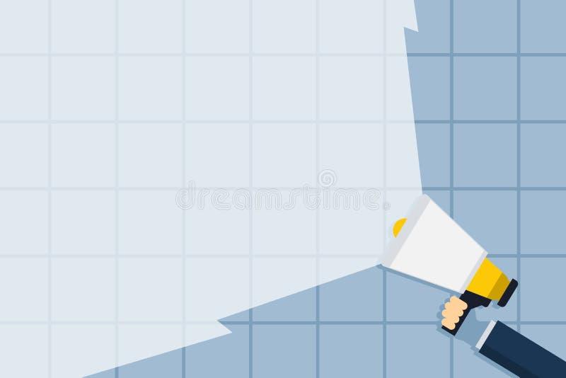 Megafone da terra arrendada da mão que estende a intensidade do som através do feixe largo vazio Megafone que aumenta a escala do ilustração stock