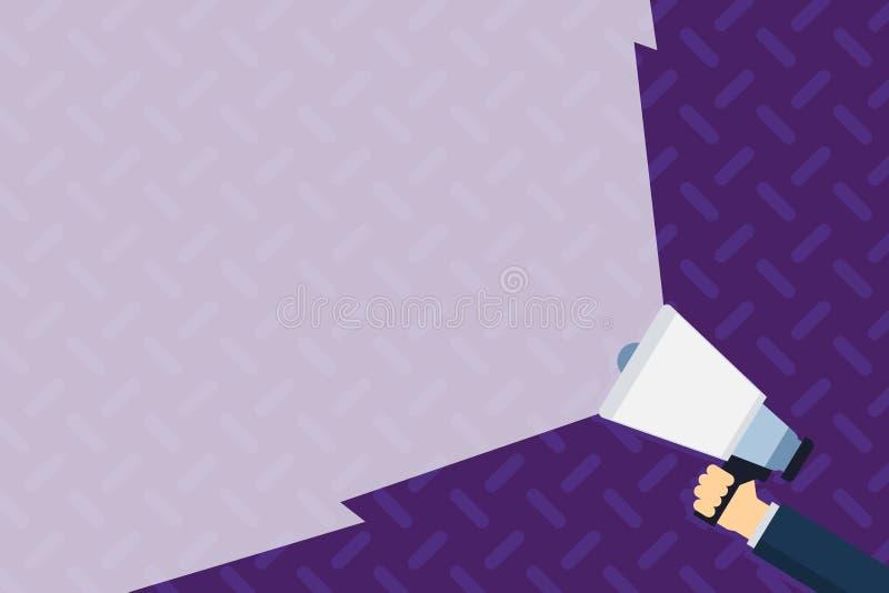 Megafone da terra arrendada da mão que estende a intensidade do som através do feixe largo vazio Megafone que aumenta a escala do ilustração royalty free