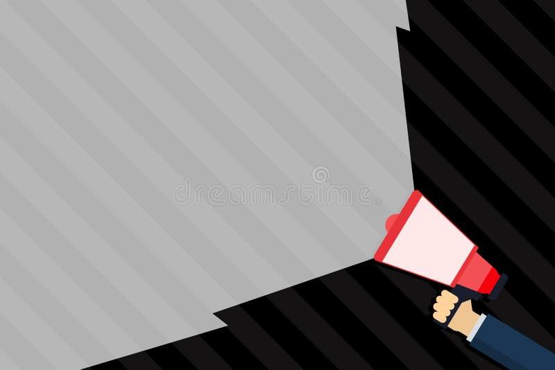 Megafone da terra arrendada da mão que estende a intensidade do som através do feixe largo vazio Megafone que aumenta a escala do ilustração do vetor