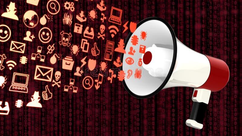 Megafone das ameaças da segurança da informação ilustração do vetor