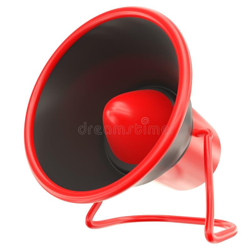 Megafone isolado no branco Chifre preto e vermelho do orador ilustração 3D ilustração royalty free