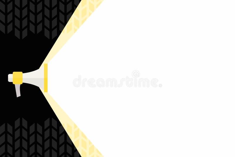 Megafone que estende a capacidade de som através do feixe largo branco Megafone que aumenta a escala do volume com o espaço mais  ilustração stock
