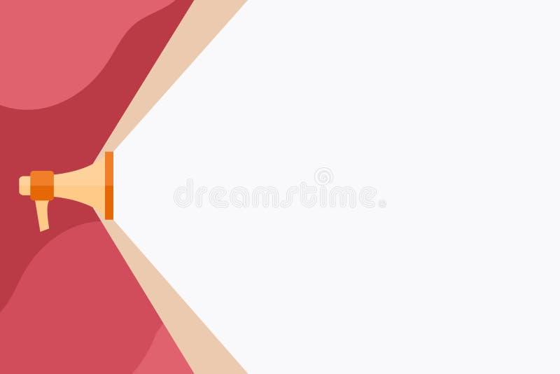 Megafone que estende a capacidade de som através do feixe largo branco Megafone que aumenta a escala do volume com o espaço mais  ilustração do vetor