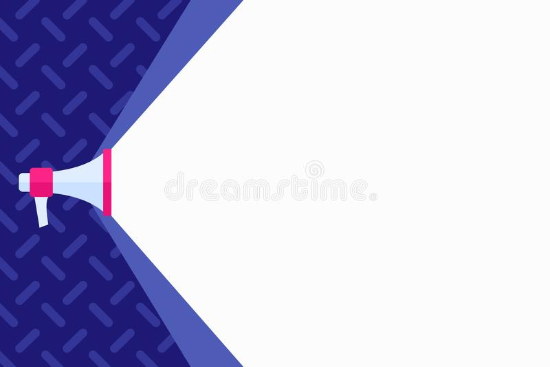 Megafone que estende a capacidade de som através do feixe largo branco Megafone que aumenta a escala do volume com o espaço mais  ilustração royalty free