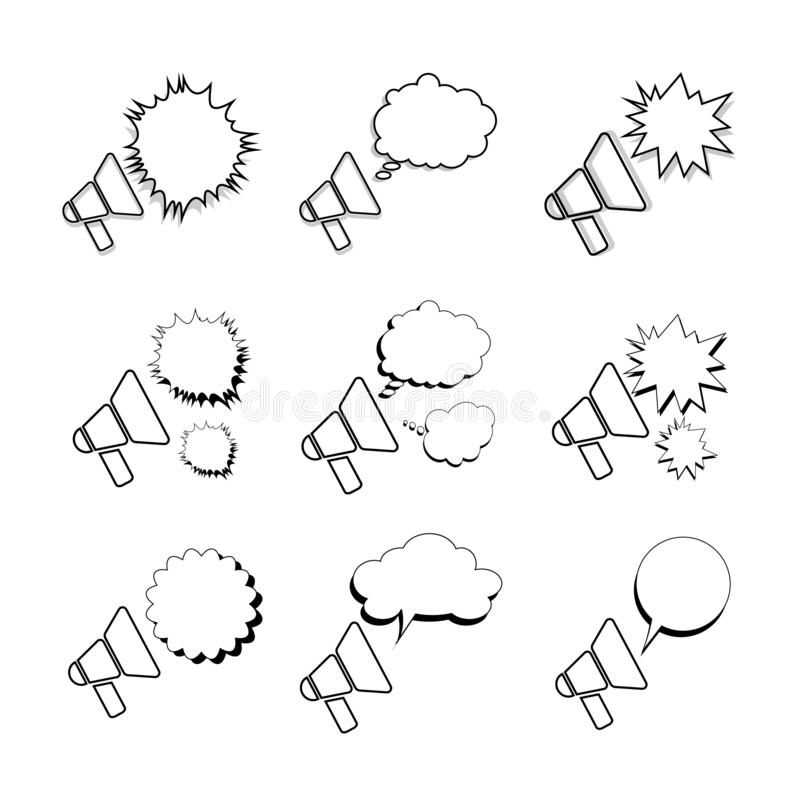 Megafoner eller megafonvektorsymboler royaltyfri illustrationer