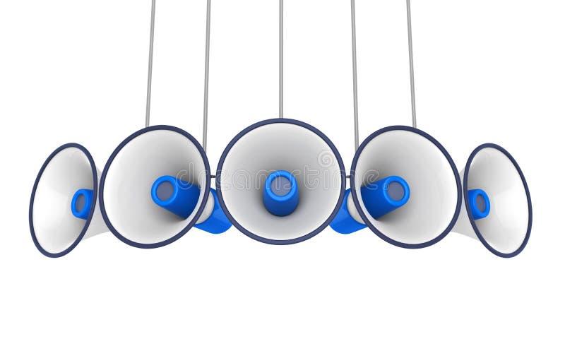 Megafoni blu isolati illustrazione vettoriale