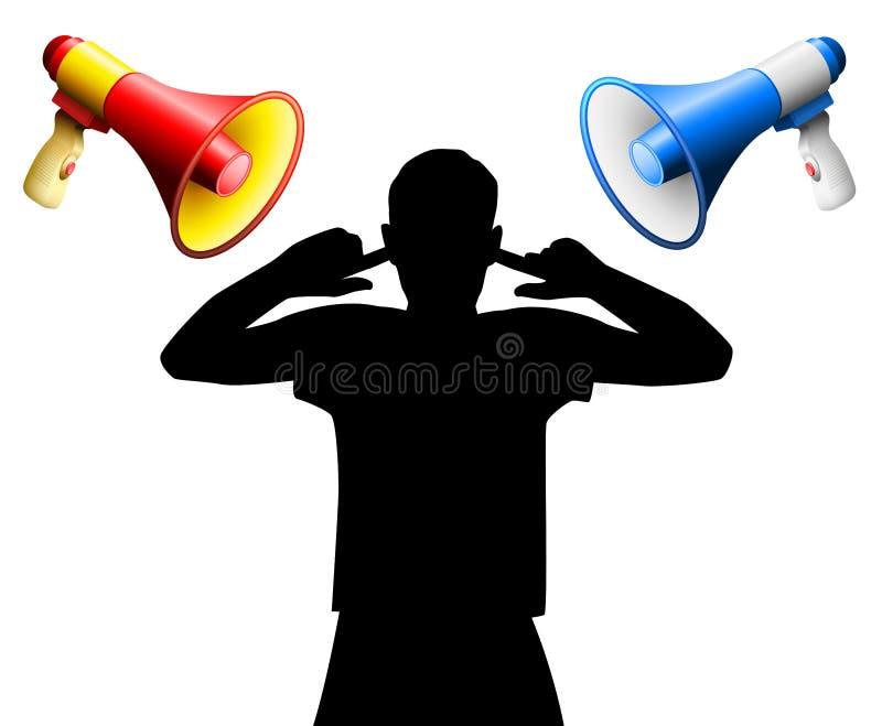 Megafoni rumorosi delle orecchie della copertura di perturbazione di rumore illustrazione di stock