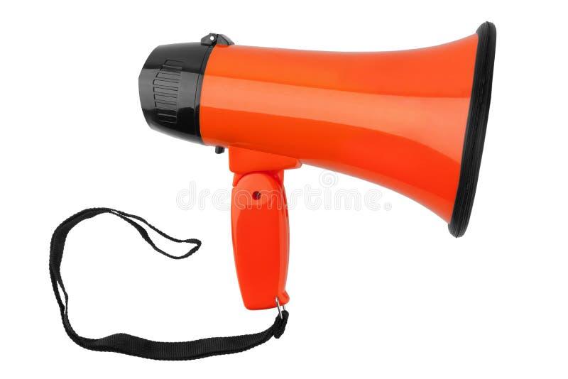 Megafono arancio su fondo bianco isolato vicino su, sulla tromba rumorosa-hailer o parlare di progettazione dell'altoparlante del fotografia stock libera da diritti