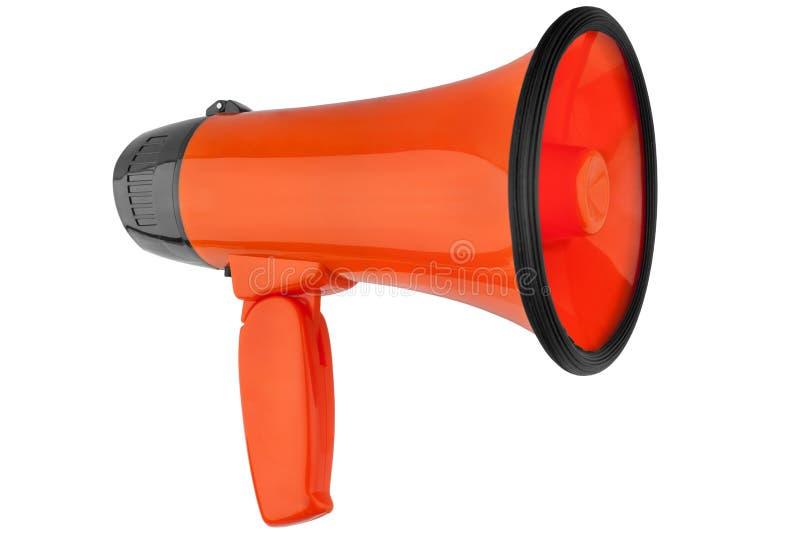 Megafono arancio su fondo bianco isolato vicino su, sulla tromba rumorosa-hailer o parlare di progettazione dell'altoparlante del immagine stock libera da diritti