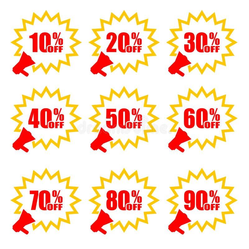Megafono con gli sconti delle percentuali Etichette e megafono di vendita di vettore Concetto di affari sconto Illustrazione di v royalty illustrazione gratis