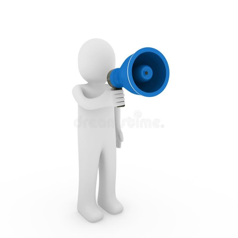 megafono dell'essere umano 3d illustrazione vettoriale