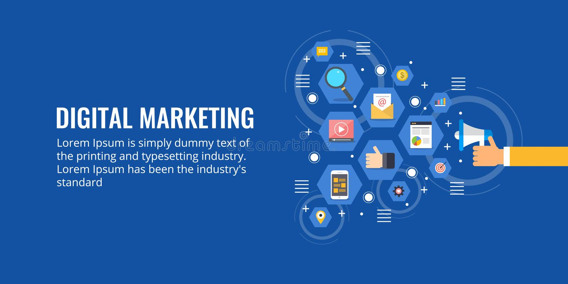 Megafono della tenuta dell'uomo d'affari, promozione online, vendita digitale, media che annunciano concetto Insegna piana di ven illustrazione vettoriale
