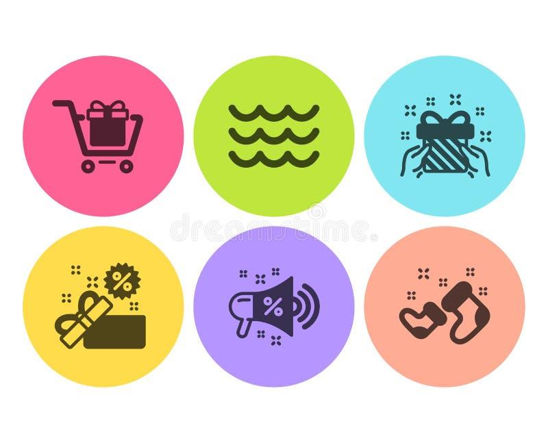 Megafono di vendita, del carrello ed insieme delle icone delle onde Segni degli stivali di vendita, del regalo e di Santa Conteni illustrazione vettoriale