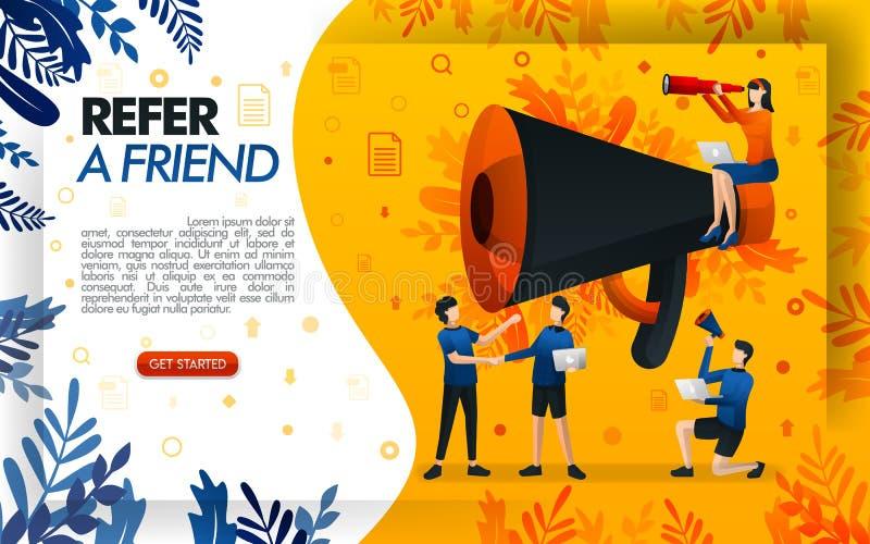 Megafono gigante per i programmi online di rinvio e di promozione riferisca ad un sito Web dell'amico, la gente che stringe le ma royalty illustrazione gratis