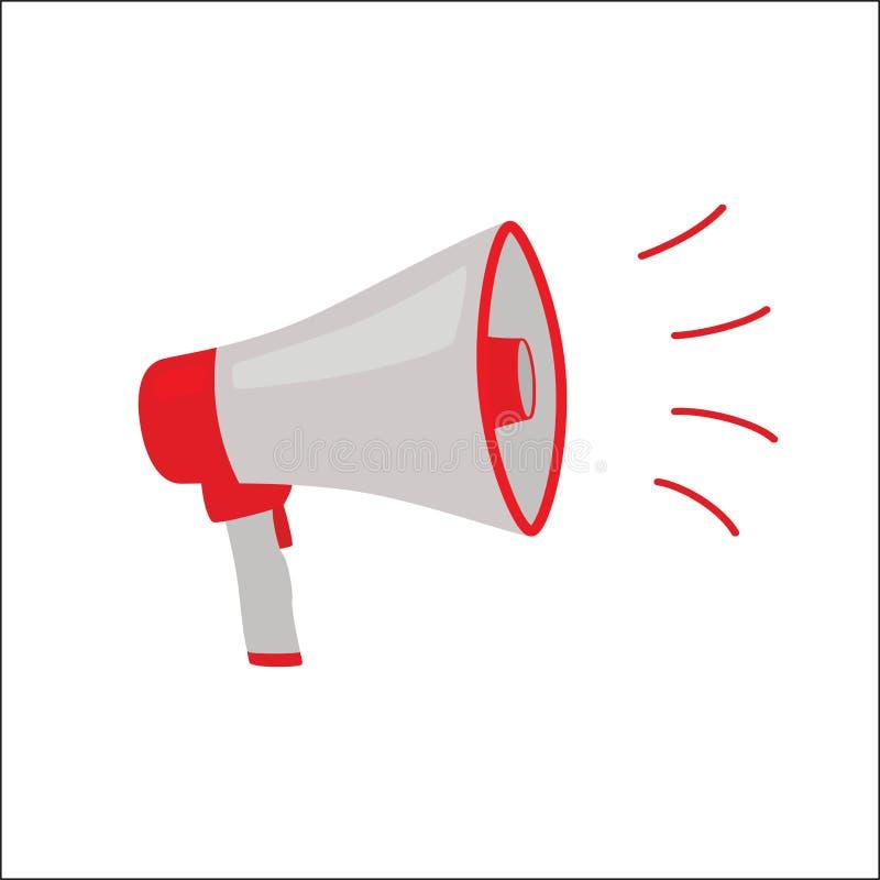 Megafono grigio rosso isolato sull'illustrazione bianca di vettore royalty illustrazione gratis
