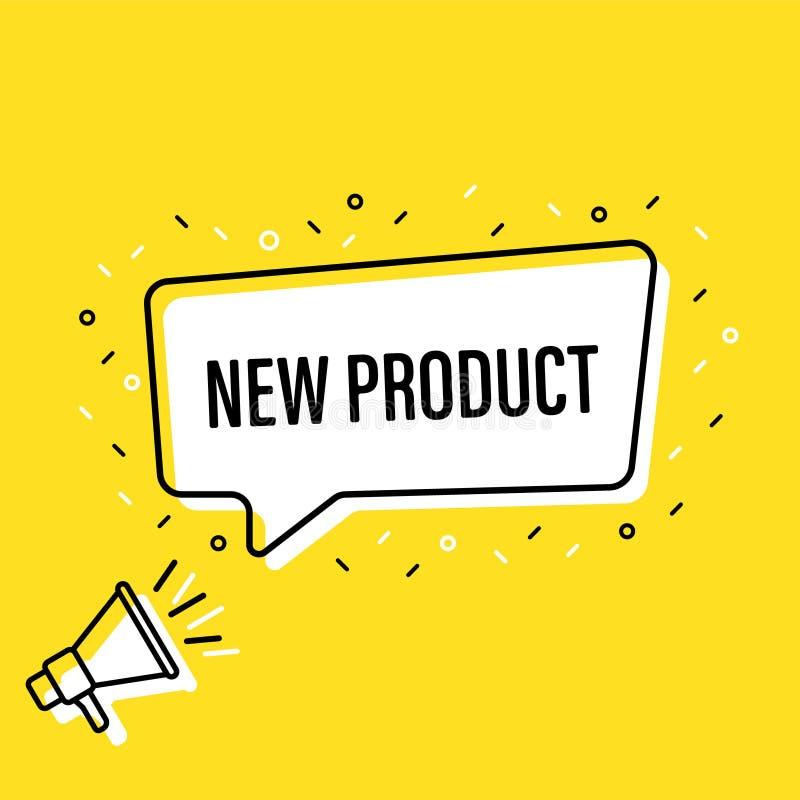 Megafono maschio della tenuta della mano con il fumetto del nuovo prodotto altoparlante Insegna per l'affare, l'introduzione sul  illustrazione vettoriale