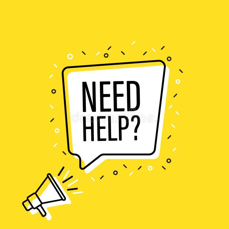 Megafono maschio della tenuta della mano con il fumetto di aiuto di bisogno altoparlante Insegna per l'affare, l'introduzione sul illustrazione di stock