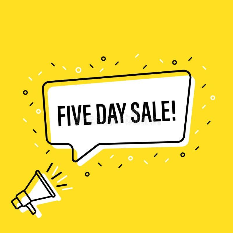 Megafono maschio della tenuta della mano con il fumetto di cinque giorni di vendita altoparlante Insegna per l'affare, l'introduz royalty illustrazione gratis