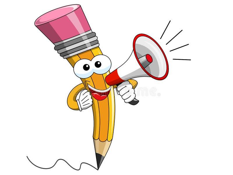 Megafono parlante del fumetto della mascotte della matita isolato royalty illustrazione gratis