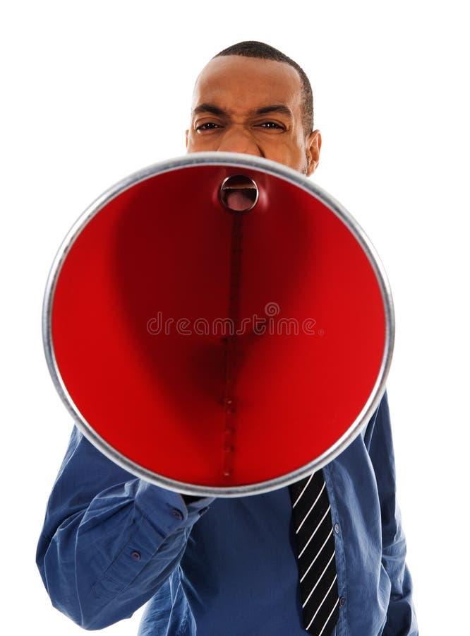 Megafono rosso fotografie stock
