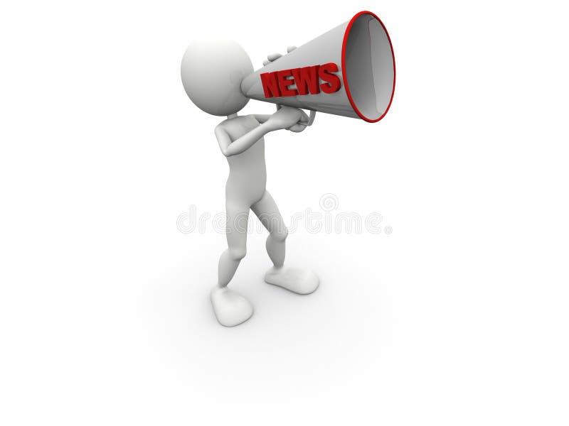 megafono umano di notizie 3d illustrazione di stock