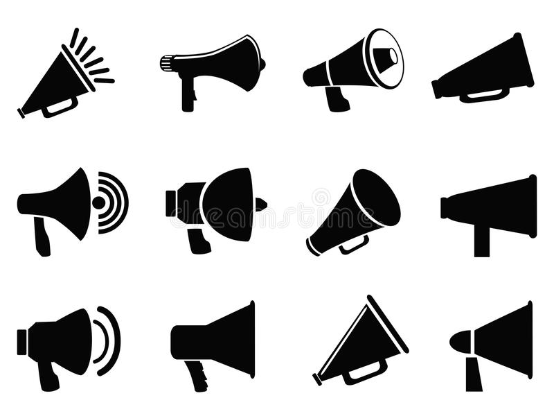 Megafonsymboler stock illustrationer
