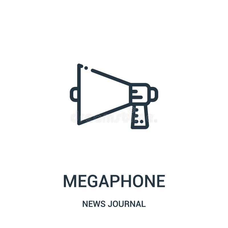 megafonsymbolsvektor från nyheternatidskriftssamling Tunn linje illustration för vektor för megafonöversiktssymbol Linjärt symbol vektor illustrationer
