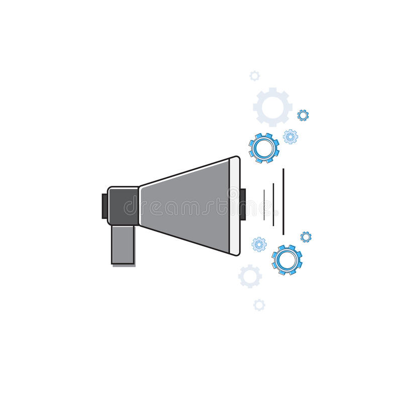 Megafonu Cyfrowego emaila Marketingowej ikony Cienka linia ilustracji