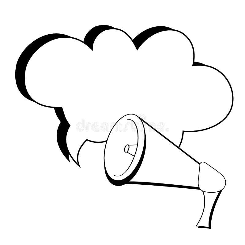 Megafonu i mowy bąbel na białym tle w komiczce projektuje Wystrza? sztuki wektoru ilustracja ilustracja wektor