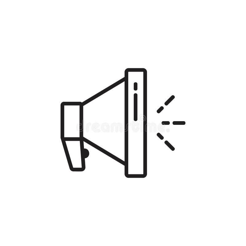 Megafonu mówcy symbolu cienki kreskowy wektor ilustracji