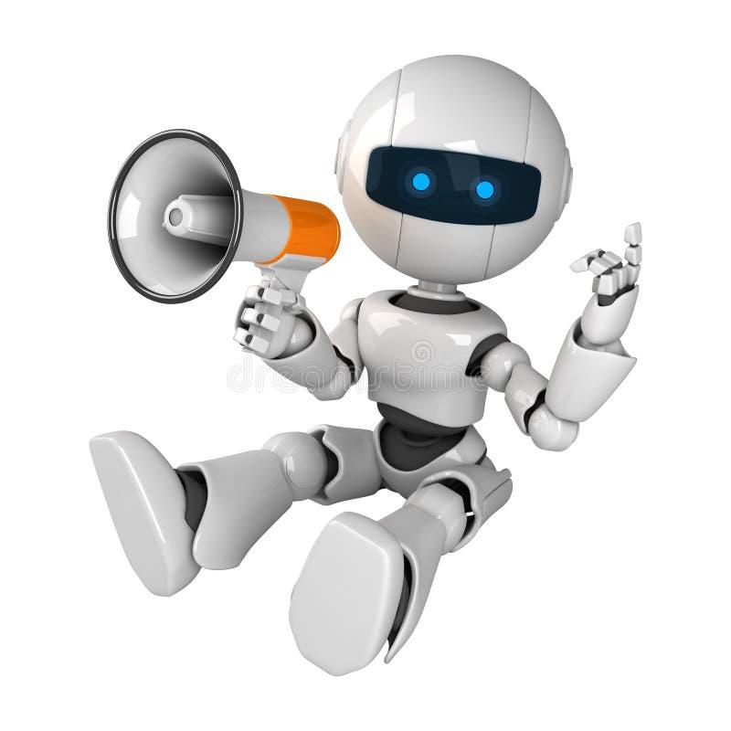 megafonu robot siedzi biel ilustracji