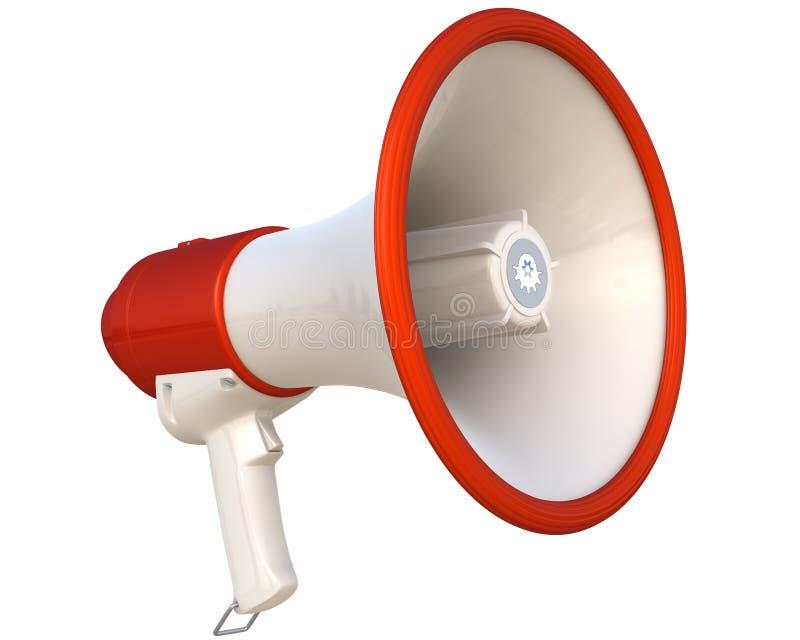Megafoon die op wit wordt geïsoleerdt stock illustratie
