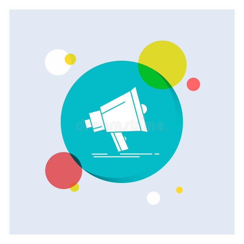 Megafoon, digitaal, marketing, media, Achtergrond van de het Pictogram kleurrijke Cirkel van megafoon de Witte Glyph royalty-vrije illustratie