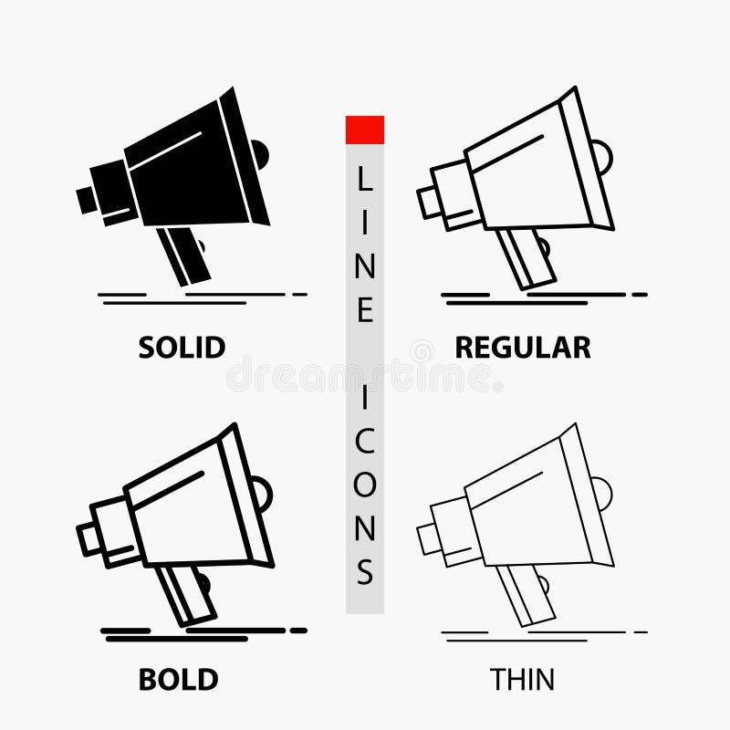 Megafoon, digitaal, marketing, media, megafoonpictogram in Dunne, Regelmatige, Gewaagde Lijn en Glyph-Stijl Vector illustratie royalty-vrije illustratie
