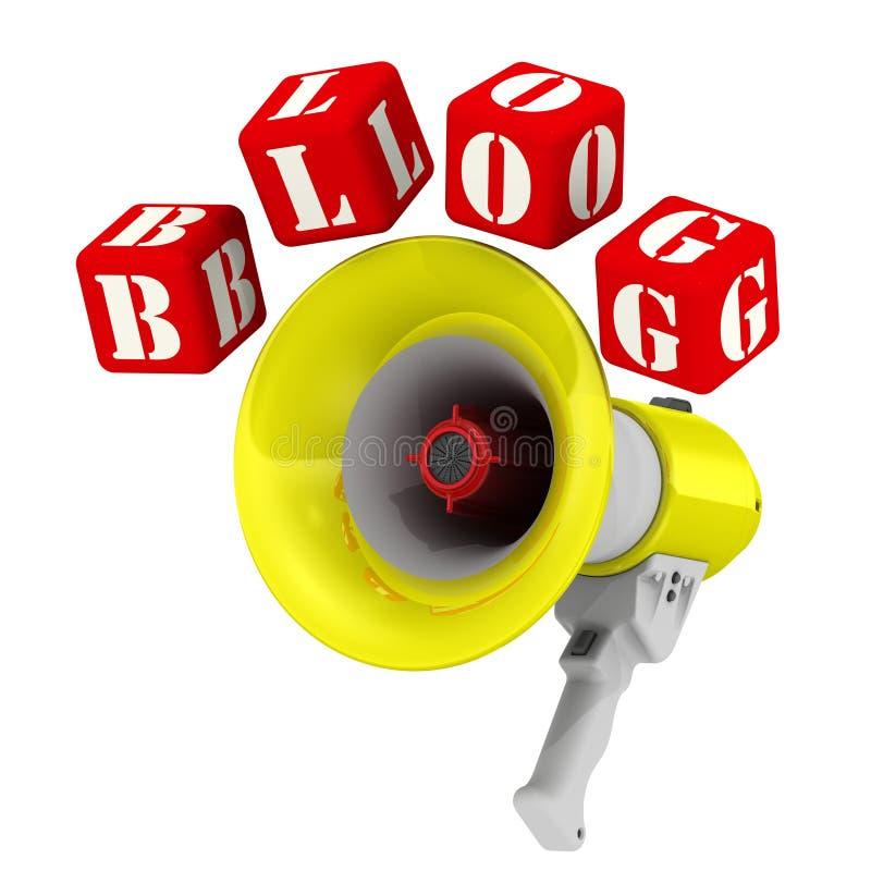 Megafoon en de woordblog royalty-vrije illustratie