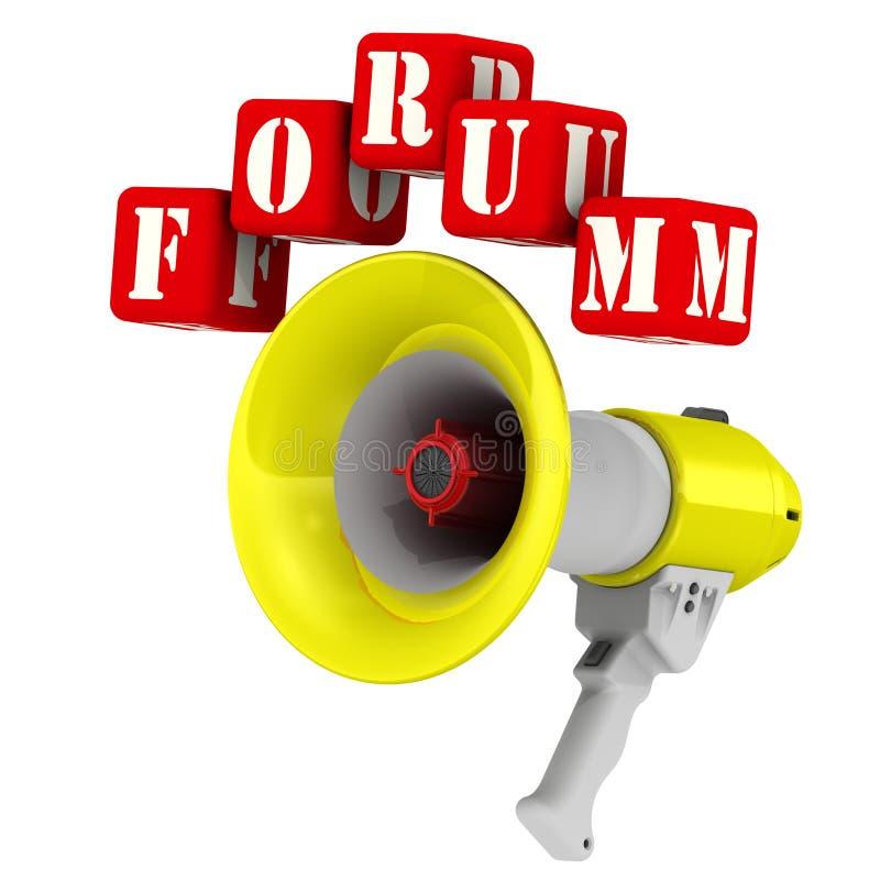 Megafoon en het woordforum stock illustratie