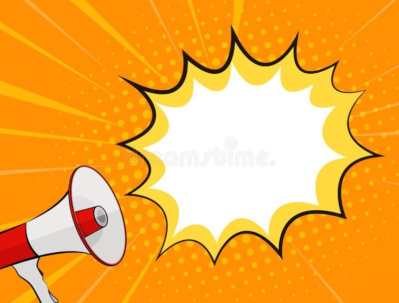 Megafoon en Toespraakbel in Pop Art Style Background Vector Illustration stock illustratie