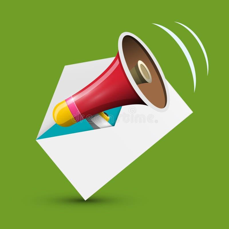 Megafoon in Enveloppictogram vector illustratie