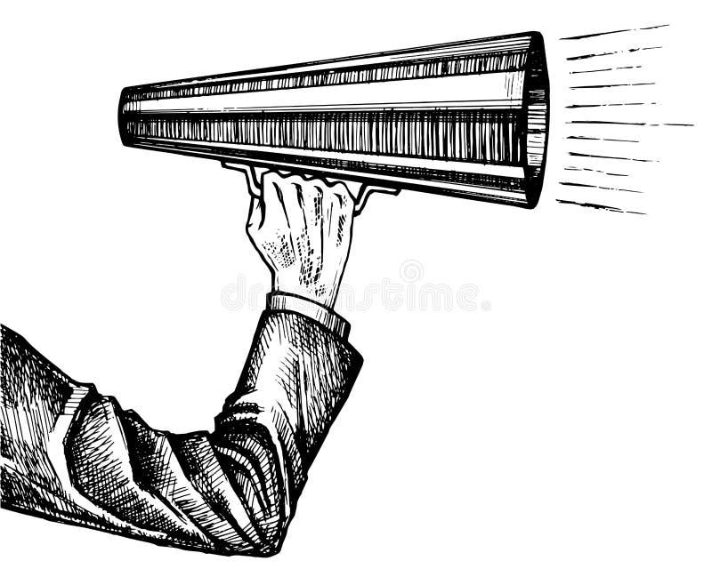 Megafoon in hand schets vector illustratie