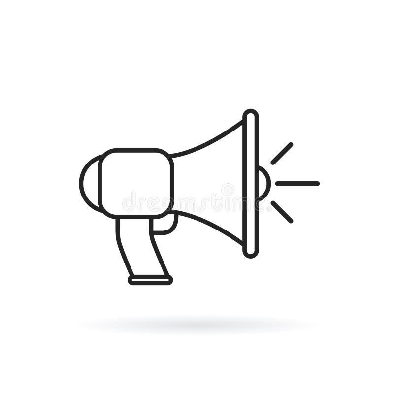 Megafoon, het pictogram van de megafoonlijn, overzichts vectorteken, lineair die stijlpictogram op wit wordt geïsoleerd vector illustratie