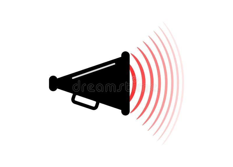Megafoon met abstracte rode uitgaande correcte golven Vectorillustratie, het element van het pictogramontwerp Geïsoleerde achterg royalty-vrije illustratie