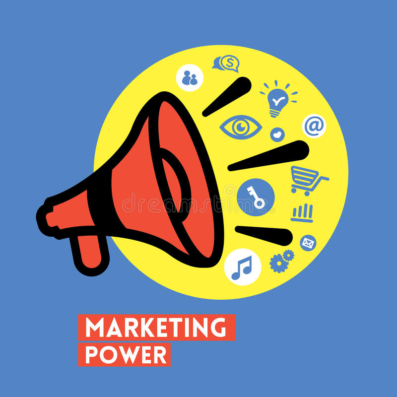 Megafoon met de Marketing van het Vectorpictogram van het Machtsconcept stock illustratie