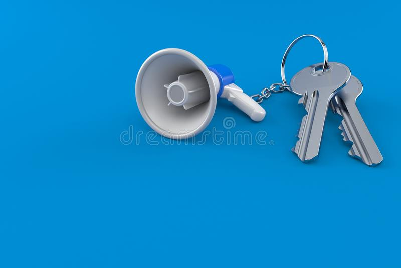 Megafoon met deursleutels stock illustratie
