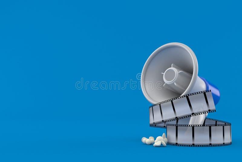 Megafoon met filmstrook stock illustratie