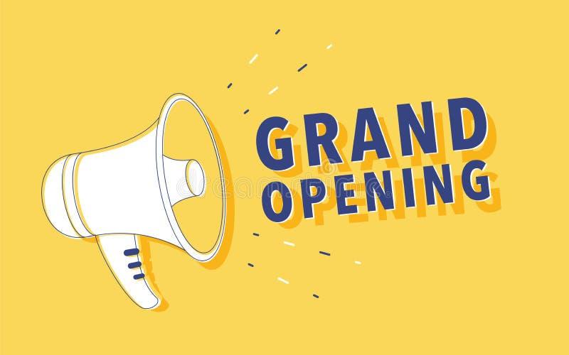 Megafoon met Grote openingstoespraakbel luidspreker Banner voor zaken, marketing vector illustratie