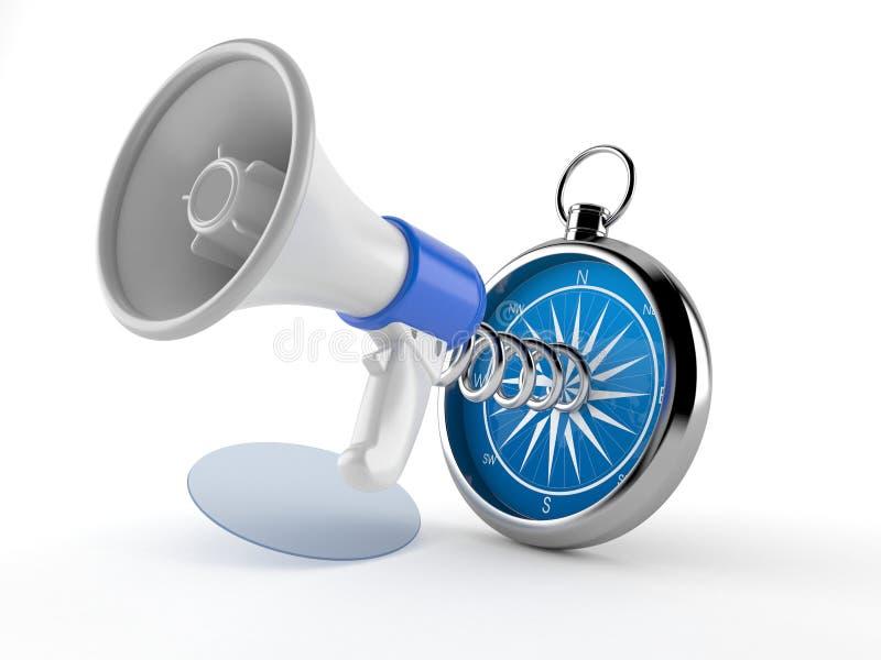 Megafoon met kompas vector illustratie