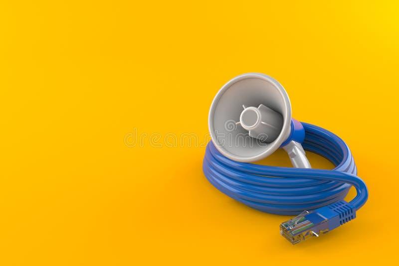 Megafoon met netwerkkabel stock illustratie